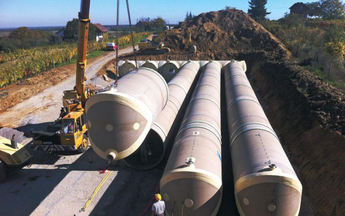 Hobas potable water tank installation Croatia