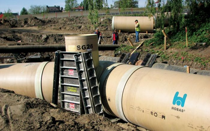 Hobas sewer pipe installation WWTP Chorzow