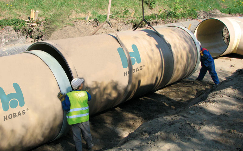 Hobas sewer pipe installation Poland